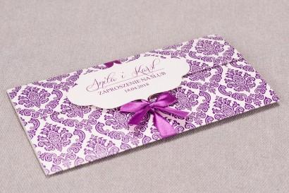 Zaproszenia ślubne Madras nr 8 - Zaproszenie wiązane kokardką w eleganckim stylu