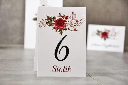 Numery stolików, stół weselny, Ślub - Pistacjowe nr 14 - Zimowo-świąteczny bukiet