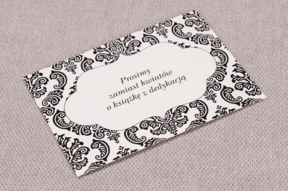 Bilecik do zaproszeń ślubnych Madras nr 1 - kolor czarny