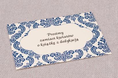 Bilecik do zaproszeń ślubnych Madras nr 2 - kolor niebieski