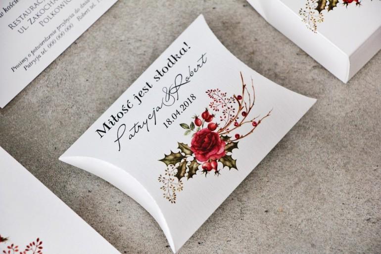 Pudełeczko poduszeczka na cukierki, podziękowania dla Gości weselnych - Pistacjowe nr 14 - Zimowo-świąteczny bukiet
