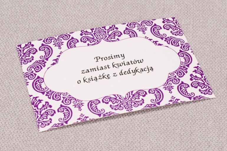 Bilecik do zaproszeń ślubnych Madras nr 8 - kolor fioletowy