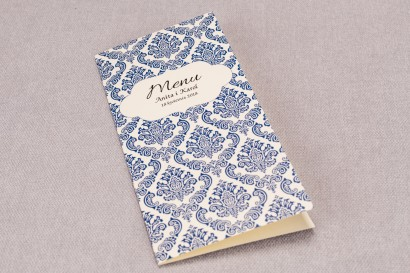 Menu ślubne z kolekcji Madras nr 2 - kolor niebieski