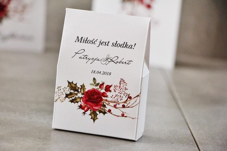 Pudełeczko stojące na cukierki, podziękowania dla Gości weselnych - Pistacjowe nr 14 - Zimowo-świąteczny bukiet