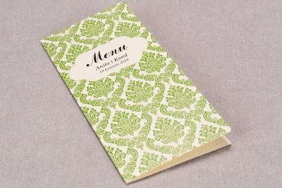 Menu ślubne z kolekcji Madras nr 3 - eleganckie zielone ornamenty