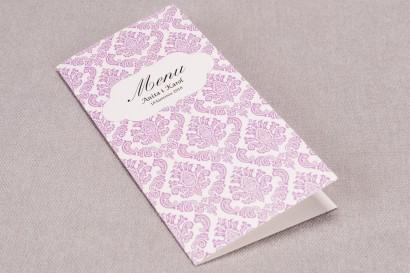 Menu ślubne z kolekcji Madras nr 4 - eleganckie różowe ornamenty