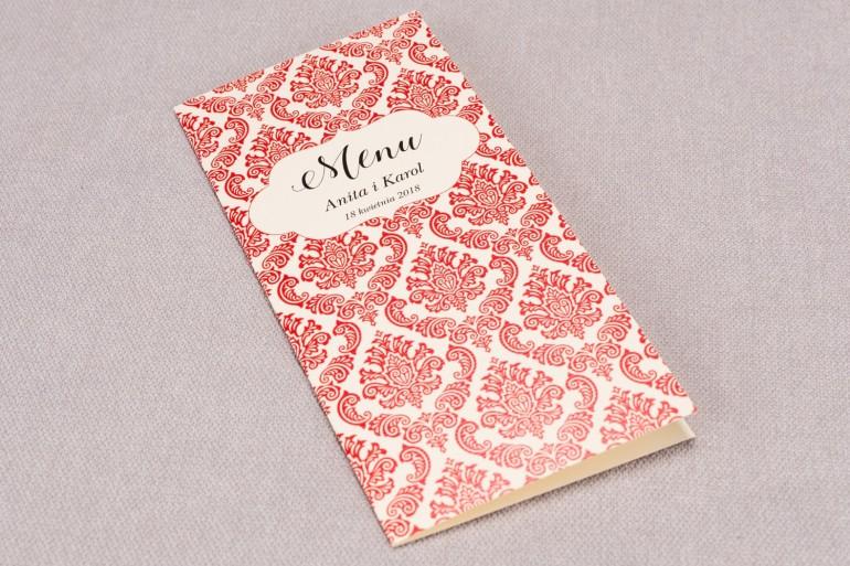 Menu ślubne z kolekcji Madras nr 5 - eleganckie czerwone ornamenty