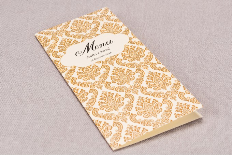 Menu ślubne z kolekcji Madras nr 7- eleganckie ciepło brązowe ornamenty