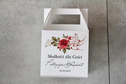 Pudełko na ciasto kwadratowe, tort weselny - Pistacjowe nr 14 - Zimowo-Świąteczna kompozycja