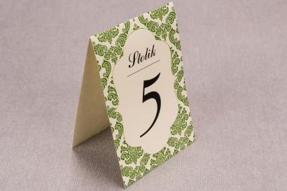 Ślubne numery stolików weselnych z kolekcji Madras nr 3 - zielone ornamenty