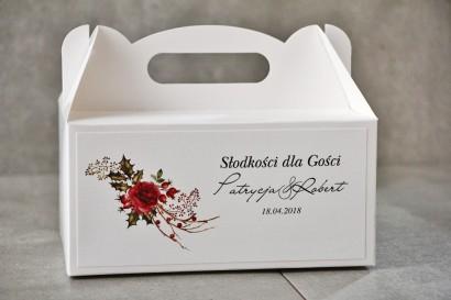 Prostokątne pudełko na ciasto, tort weselny, Ślub - Pistacjowe nr 14 - Zimowo-świąteczny bukiet