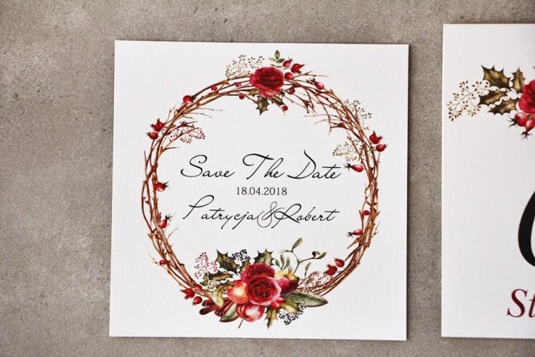 Bilecik Save The Date do zaproszenia - Pistacjowe nr 14 - Zimowo-świąteczna kompozycja