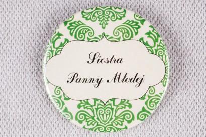 Ślubna przypinka dla gości weselnych z kolekcji Madras nr 3 - zielone ornamenty