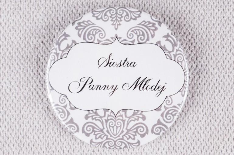 Ślubna przypinka dla gości weselnych z kolekcji Madras nr 6 - szare ornamenty