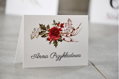 Winietki na stół weselny, ślub - Pistacjowe nr 14 - Zimowo-świąteczna kompozycja