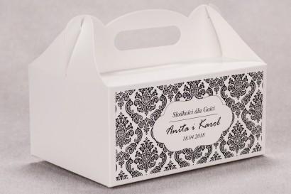 Ślubne pudełko na ciasto weselne prostokątne z kolekcji Madras nr 1 - czarne ornamenty