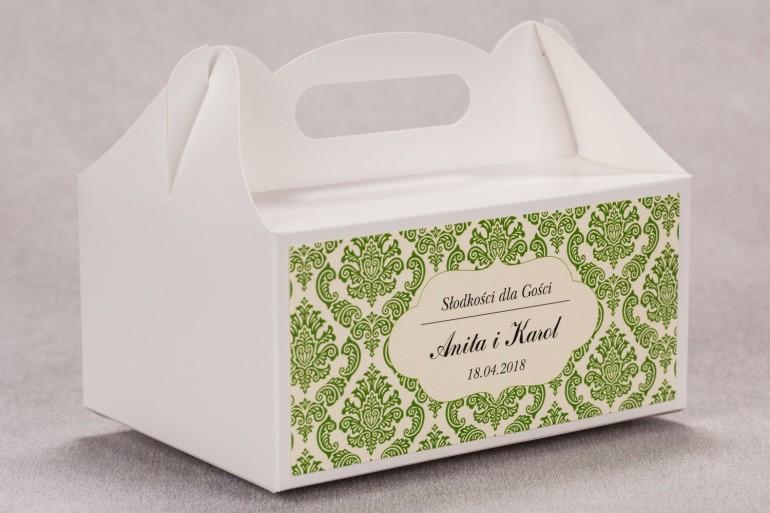 Ślubne pudełko na ciasto weselne prostokątne z kolekcji Madras nr 3 - zielone ornamenty