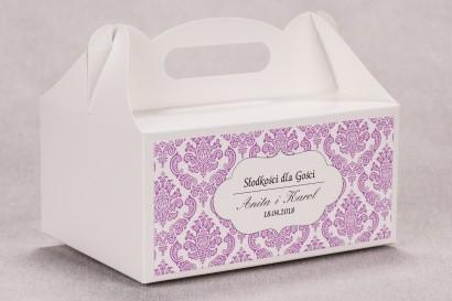Ślubne pudełko na ciasto weselne prostokątne z kolekcji Madras nr 4 - różowe ornamenty