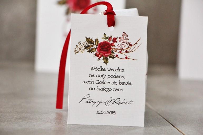 Zawieszka na butelkę, Wódka weselna, ślub - Pistacjowe nr 14 - Zimowo-świąteczna kompozycja z różą