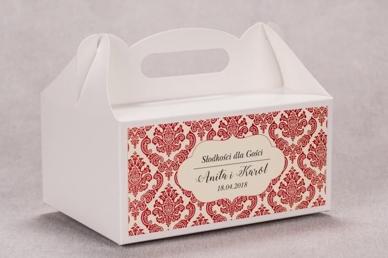 Ślubne pudełko na ciasto weselne prostokątne z kolekcji Madras nr 5 - czerwone ornamenty