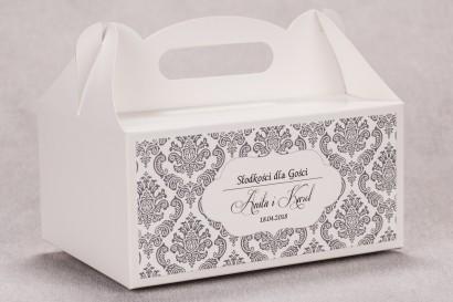 Ślubne pudełko na ciasto weselne prostokątne z kolekcji Madras nr 6 - szare ornamenty