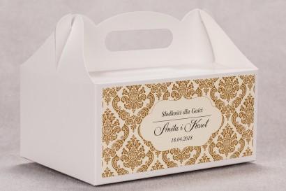 Ślubne pudełko na ciasto weselne prostokątne z kolekcji Madras nr 7 - ciepło brązowe ornamenty