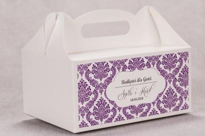 Ślubne pudełko na ciasto weselne prostokątne z kolekcji Madras nr 8 - fioletowe ornamenty