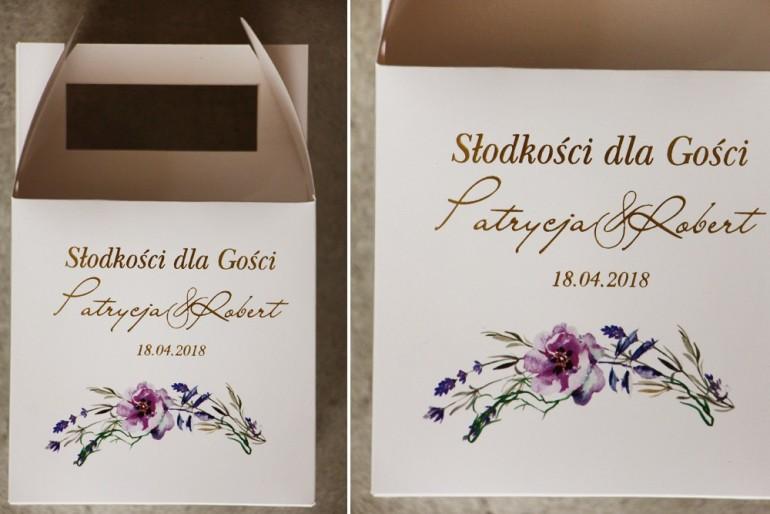 Pudełko na ciasto kwadratowe, tort wesleny - Cykade nr 9 ze złoceniem - fioletowe polne kwiaty