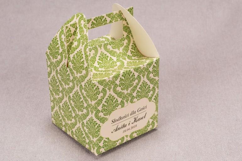 Ślubne pudełko na ciasto weselne kwadratowe z kolekcji Madras nr 3 - zielone ornamenty