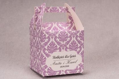 Ślubne pudełko na ciasto weselne kwadratowe z kolekcji Madras nr 4 - różowe ornamenty
