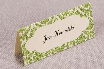 Ślubne winietki, wizytówki na stół weselny z kolekcji Madras nr 2 - zielone ornamenty