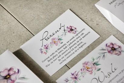 Bilecik do zaproszenia 105 x 74 mm prezenty ślubne wesele - Pistacjowe nr 15 - Pastelowo fioletowe kwiaty