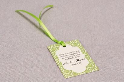 Ślubne zawieszki na butelki weselne z kolekcji Madras nr 3 - zielone ornamenty