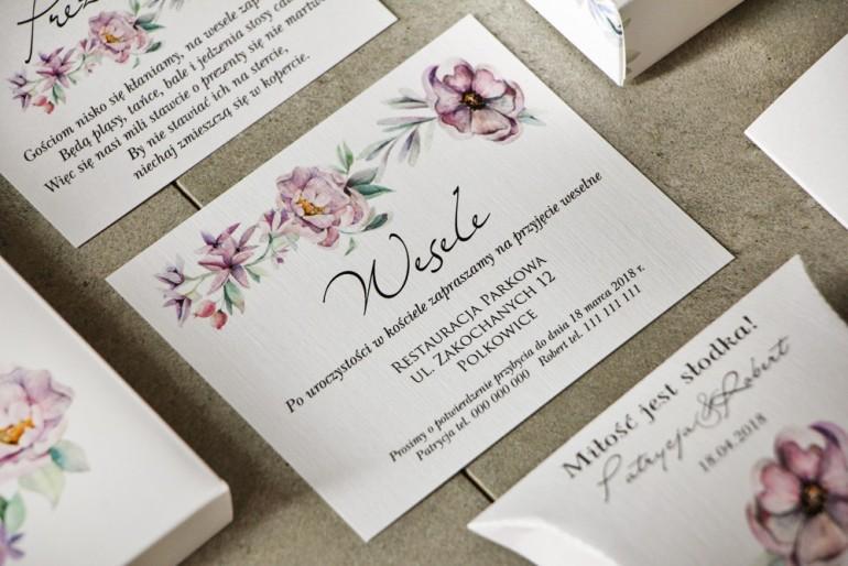 Bilecik do zaproszenia 120 x 98 mm prezenty ślubne wesele - Pistacjowe nr 15 - Pastelowo fioletowe kwiaty