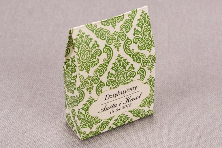 Ślubne Pudełeczko na słodkości dla gości weselnych z kolekcji Madras nr 3 - zielone ornamenty