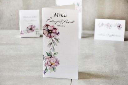 Menu weselne, ślub, stół weselny - Pistacjowe nr 15 - Delikatne pastelowo-fioletowe kwiaty