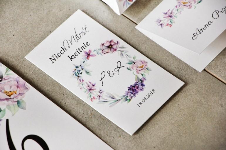 Podziękowania dla Gości weselnych - Nasiona Niezapominajki - Pistacjowe nr 15 - Pastelowo-fioletowy wianek.