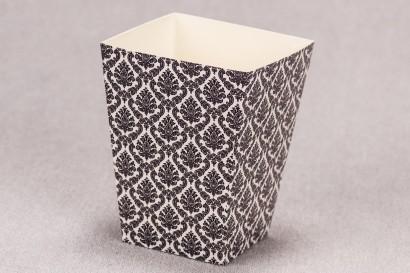 Ślubne pudełko na popcorn lub inne słodkości dla gości weselnych z kolekcji Madras nr 1 - czarne ornamenty