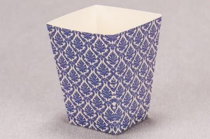 Ślubne pudełko na popcorn lub inne słodkości dla gości weselnych z kolekcji Madras nr 2 - niebieskie ornamenty