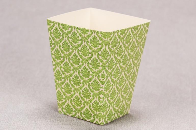 Ślubne pudełko na popcorn lub inne słodkości dla gości weselnych z kolekcji Madras nr 3 - zielone ornamenty