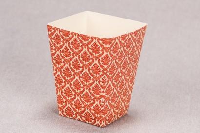 Ślubne pudełko na popcorn lub inne słodkości dla gości weselnych z kolekcji Madras nr 5 - czerwone ornamenty