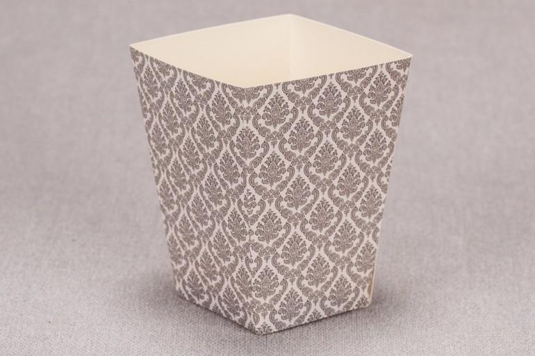 Ślubne pudełko na popcorn lub inne słodkości dla gości weselnych z kolekcji Madras nr 6 - szare ornamenty