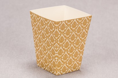 Ślubne pudełko na popcorn lub inne słodkości dla gości weselnych z kolekcji Madras nr 7 - ciepło brązowe ornamenty