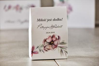 Pudełeczko stojące na cukierki, podziękowania dla Gości weselnych - Pistacjowe nr 15 - Delikatne fioletowe kwiaty