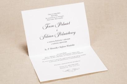 Eleganckie zaproszenia ślubne z koronką w kolorystyce fioletu - wnętrze zaproszenia ślubnego Klaris nr 3