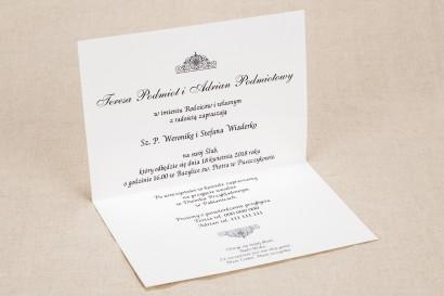 Klasyczne białe zaproszenia ślubne z elegancką koronką i akcentem jasnego różu - Wnętrze zaproszenia Klaris nr 4
