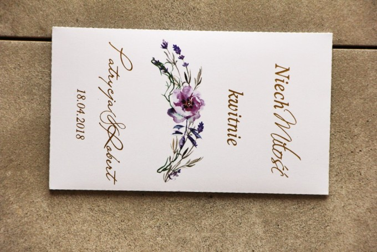 Nasiona Niezapominajki, Cykade ze złoceniem, fioletowe polne kwiaty, podziękowania dla gości weselnych