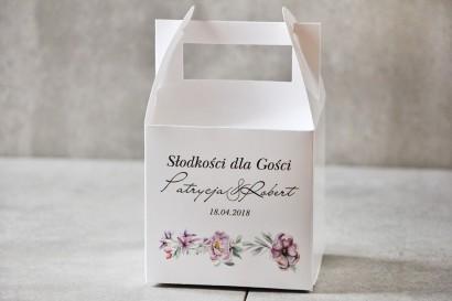 Pudełko na ciasto kwadratowe, tort weselny - Pistacjowe nr 15 - Delikatne pastelowo fioletowe kwiaty