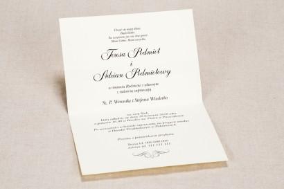 Zaproszenia ślubne z elegancką, brązową koronką z delikatną kokardką - Wnętrze zaproszenia Klaris nr 6