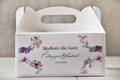Prostokątne pudełko na ciasto, tort weselny, Ślub - Pistacjowe nr 15 - Pastelowo-fioletowe kwiaty